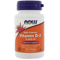 Витамины NOW Foods Vitamin D3 2000 МЕ 120 softgels
