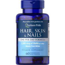 Витамины Puritan's Pride Hair, Skin & Nails One Per Day Formula 60 капс