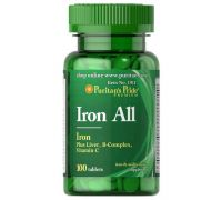 Puritan's Pride Iron All (Plus Liver, B-complex, Vitamin-C) 100 таб