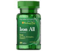Puritan's Pride Iron All (Plus Liver, B-complex, Vitamin-C) 100 таб