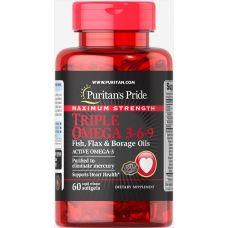 Puritan's Pride Maximum Strength Triple Omega 3-6-9 Fish, Flax & Borage Oils 60 Softgels