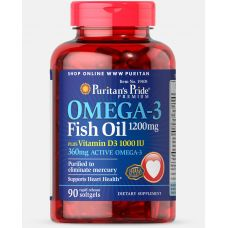 Витамины Puritan's Pride Omega 3 Fish Oil 1200 mg plus Vitamin D3 1000 IU 90 Softgels